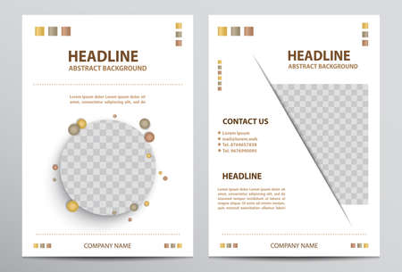 Vector white A4 brochure design template with image areas.