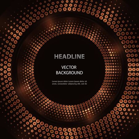 Futuristic vector bronze halftone circles with neon lights on black background.