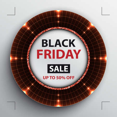 Vector Black Friday sale poster with round red target radar disk on black background.