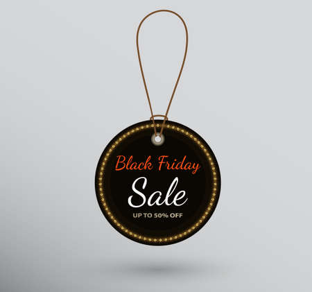 Vector black round badge hanging on string with Black Friday sale sign. Ilustracja