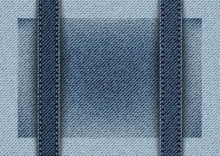 Vector blue denim design with vertical stripes with stitches.