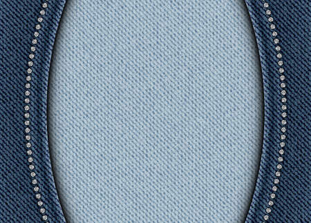 Vector blue denim banner with arches and silver sequin borders. Vettoriali