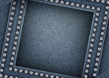 Vector abstract blue denim design with shifted square frame with silver spangles on denim background.