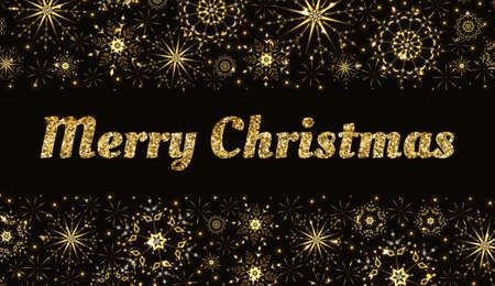 Vector golden glittering Merry Christmas lettering with borders with sparkling snowflakes and stars.