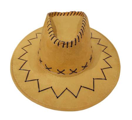Beige western cowboy hat isolated on white background.