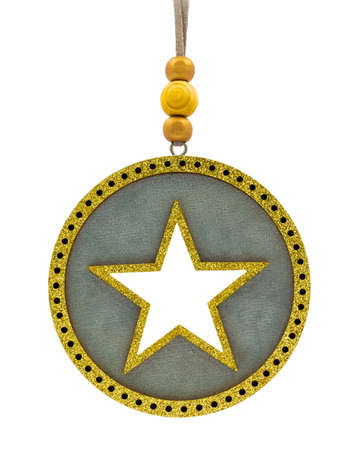 Round Christmas tree decoration with golden glittering borders and five-pointed star in center isolated on white background. Stok Fotoğraf