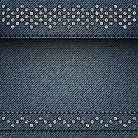 Blue denim background with stitches and silver spangle zig-zag lines. Çizim