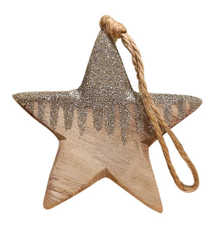 Wooden Christmas tree decoration in shape of five-pointed star with glitter and rope isolated on white background. Stok Fotoğraf