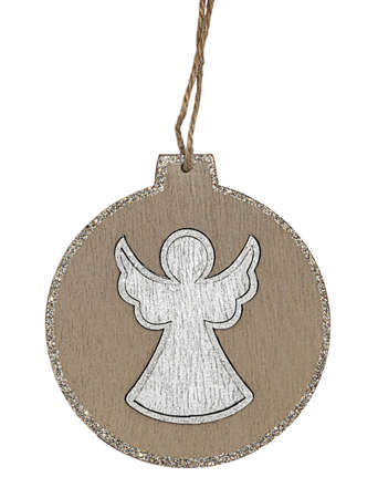 Round Christmas tree decoration with silver glittering borders and angel in center isolated on white background. Stok Fotoğraf