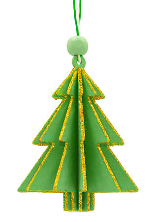 Wooden green Christmas tree decoration with golden glittering borders isolated on white background.