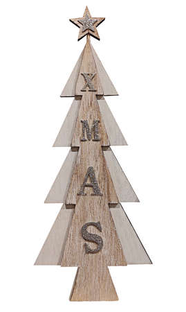 Wooden Christmas tree decoration with glittering lettering XMAS isolated on white background.