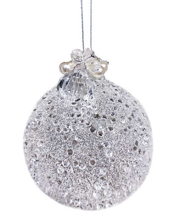 Closeup of silver Christmas ball with glitter, sequins and crystal isolated on white background. Stok Fotoğraf