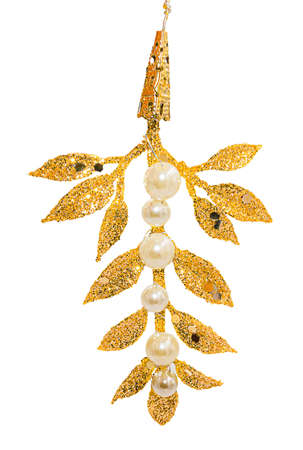 Hanging Christmas tree decoration in shape of golden glittering leafy twig with white beads isolated on white background. Stok Fotoğraf
