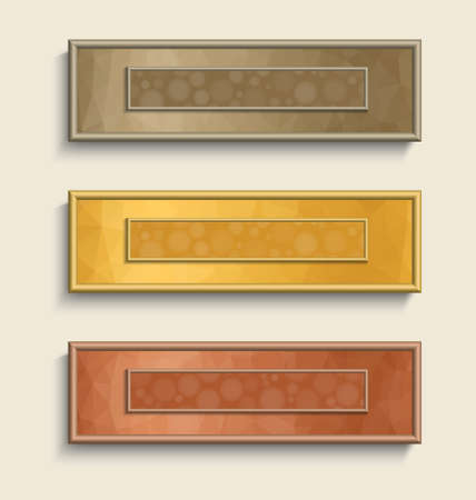 Vector banner set with polygonal backgrounds outside and bokeh backgrounds inside in golden, silver and bronze colors. Çizim