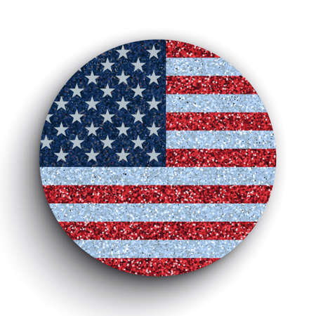 Vector glittering circle design element with flag USA on white background.