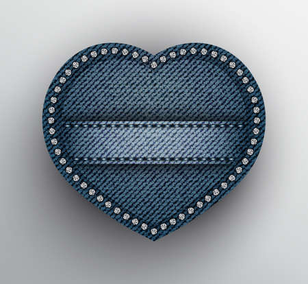 Vector blue denim heart with stitched stripe and silver sequins on boundary.