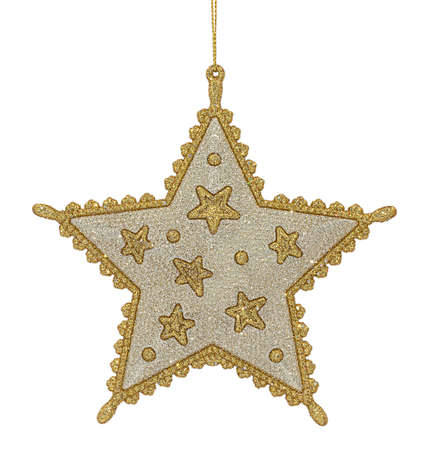 Golden and silver glittering Christmas tree decoration in shape of five-pointed star hanging in rope isolated on white background.