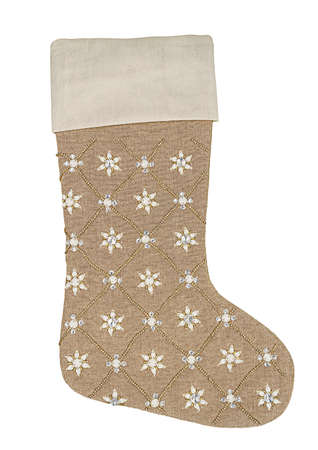 Beige Christmas stocking with sequins and beads isolated on white