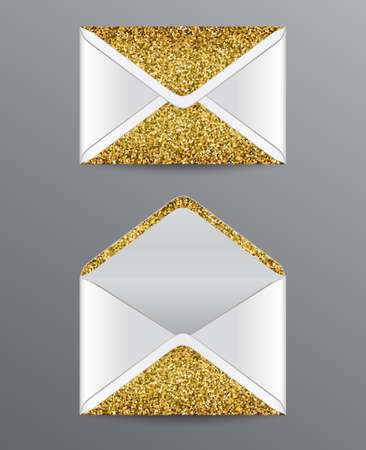 Closed and opened envelopes with golden glittering elements. Çizim