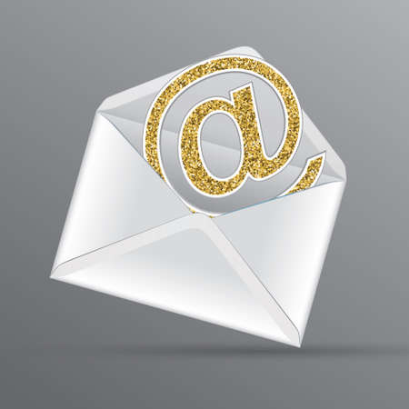 Vector white envelope with email with golden glittering email symbol inside.