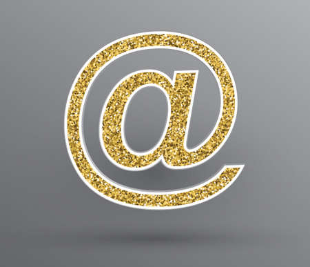 Vector golden glittering email 'at' symbol.