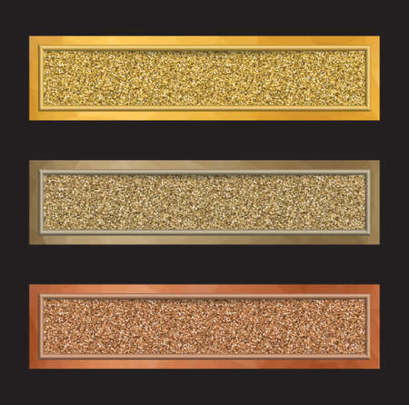 Set of vector banners with glittering backgrounds in golden, silver and bronze colors isolated on black.