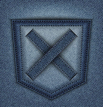 Vector blue denim design with back pocket and cross with stitches. Illustration