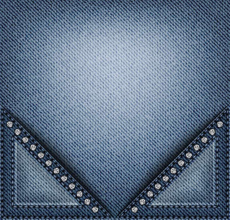 Vector blue denim banner with triangle pockets with stitches and sequins.