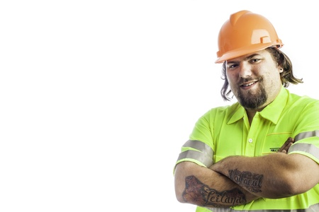 City construction worker isolated on white with arms crossed