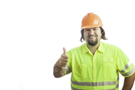 City construction worker isolated on white giving the thumbs up sign