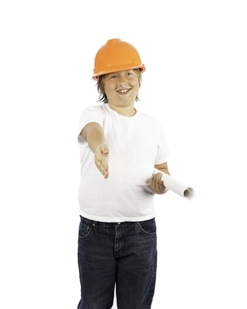 A young boy isolated on white in a hard hat hwith his hand outstretched Stock Photo - 16882442