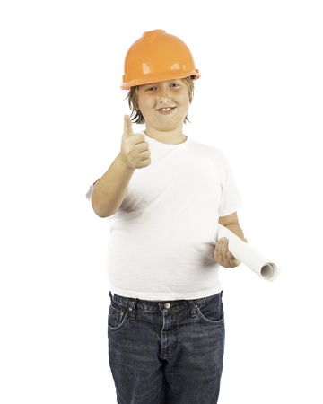 A young boy isolated on white in a hard hat with his thumb up Stock Photo - 16882440