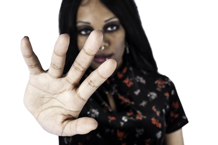 African american woman holding her hand up with the gesture for stop or no Stock Photo - 16970306