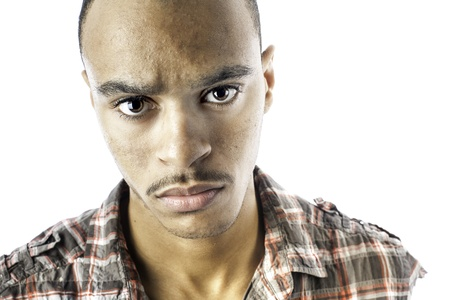 Isolated african american young male with a serious look Stock Photo - 17232556