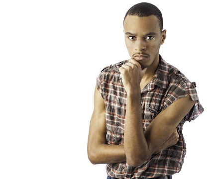 isolated shot of a handsome young african american black male with a look of thought on his face Stock Photo - 17232546