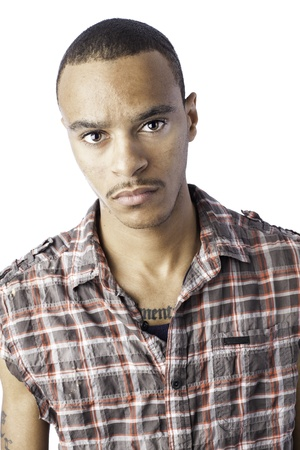 Isolated african american young male with a serious look Stock Photo - 17539230