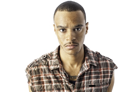Isolated african american young male with a serious look Stock Photo - 17539278