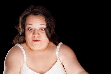 hispanic woman with a surprised look on her face with space for custom text Stock Photo - 17539299