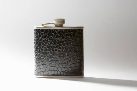 vintage leather hip flask.