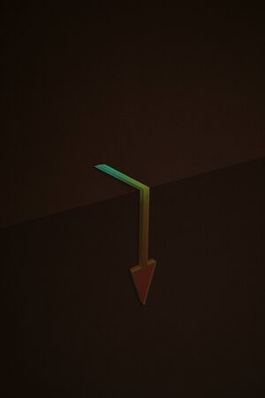 an arrow that falls below a cliff. 3d illustration.