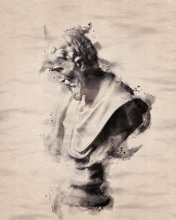 watercolor painting of Greek & Roman sculptures. a plaster figure.