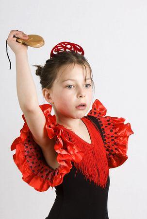 Shot of a young girl dancing the Flamenco