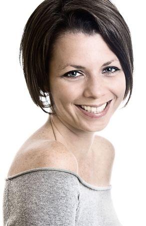 Studio Shot of Brunette Woman Smiling Stock Photo - 3980584