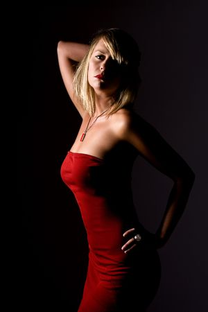 sexy blonde girl: Shot z Sexy Blonde Girl in Red Dress