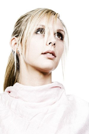 looking away from camera: Beautiful Blonde Girl Looking Away from Camera Stock Photo