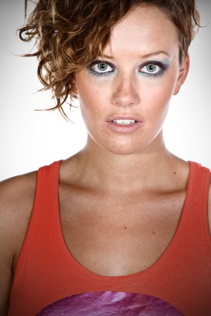 facing the camera: Attractive Brunette Girl Facing Camera   Stock Photo