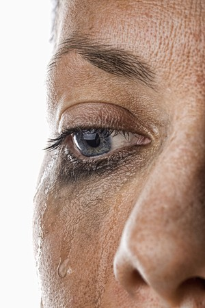 Close Up Shot of a Woman Crying Standard-Bild