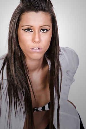 glamor Brunette Looking into the Camera photo