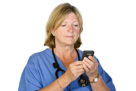pager: Senior Female Doctor Checking Pager on White Background Stock Photo