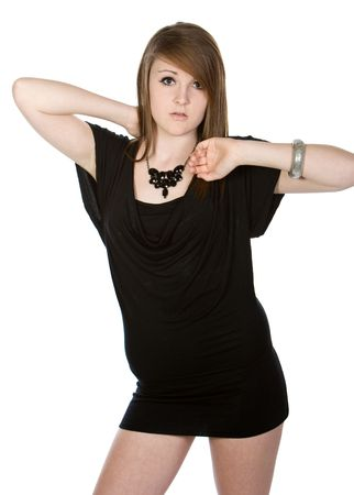 Shot of a Pretty Teenager in Black Dress Stock Photo - 4766053